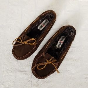 Minnetonka Brown Faux Fur Moccasins